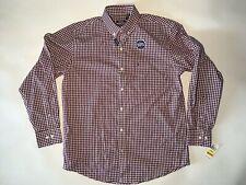 "Mens IZOD Checked Shirt Size M Burgundy Check - Pit2pit 23"" Neck 16"" Button Cuff"