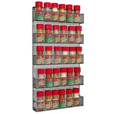 Wall Mount Spice Rack Shelf Kitchen Holder Door Organizer Home Storage 5 Tier
