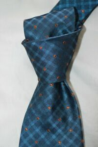 "$295 NWT KITON Teal BLUE Orange Polka dots handmade 3.4"" silk 7 fold tie ITALY"