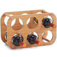BOTELLERO PARA VINO bambú 6 Botellas Estantería madera Soporte