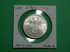 UNC German 🇩🇪 5 Mark Silver Coin Third Reich Large Swastika Reichsmark 1936-A