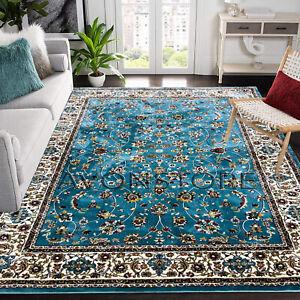 Traditional Oriental Design Rug Silk look Living Room Carpet Sky Blue Rug Runner