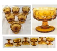 Vintage Indiana Glass KINGS CROWN Thumbprint Amber Dessert Bowls 6-PC Set
