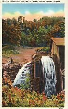 A Picturesque Old Water Wheel During Indian Summer -- Old Vintage Linen Postcard