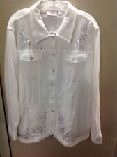 Quacker Factory Fleece White Jacket With lots of BLING Size 1X