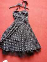 Ladies Black and white polka dot halterneck dress size 12