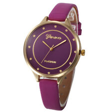 Fashion Women's Lovely Stainless Steel Leather Quartz Analog Wrist Watch Slim
