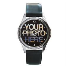 Custom Silver Photo Watch with Black Leather Strap Personalised Picture Design