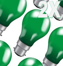 2 x 25w Incandescent GLS Coloured Light Bulb Green BC-B22 - 25GBC-GLZ
