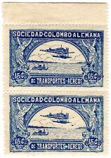 COLOMBIA - SCADTA - 15c MARGINAL PAIR W/ PERF ERRORS - Sc C13 - 1921 RRR