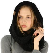 Winter Warm Soft Sherpa Fleece Thick Knit Loop Infinity Ski Hood Scarf Black