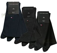 TOMMY HILFIGER MEN SOLID SOCKS BLACK, GREY, NAVY 3 PAIRS ALL SIZES  NEW