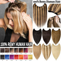 100% Russian Remy Human Hair Hidden Halos Invisible Wire Hair Extensions US P394