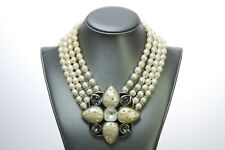 Yves Saint Laurent YSL 1980's Pearl Crystal Necklace