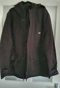 Armani Exchange XL Black Moleskin Winter Jacket Coat Hooded Quilted Lining Heavy