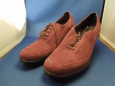 Vintage Suede Women's Clarks Shoes Loafers Stacked Heel Lace Up Oxblood Red