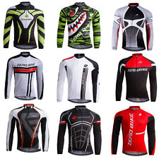 Mens Team Riding Outfits Wear Cycling Bike Long Sleeve Jersey Tops Breathable