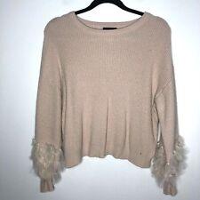 Lumiere Size Medium Cream Sweater Chiffon Ruffle Pouf Sleeves Cropped