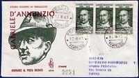 1963 - FDC Venetia - D'ANNUNZIO - Viaggiata per raccomandata - n.197It