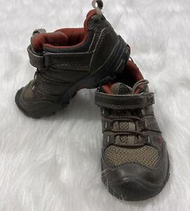 baby KEEN Shoes size 10C brown orange hook and loop closure