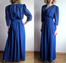 vtg 70s Royal Blue chiffon maxi drape dress S M