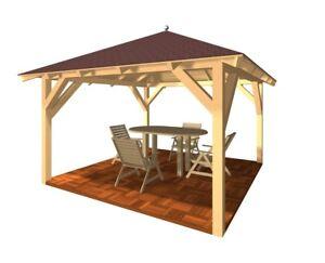 Gartenpavillon Holzpavillon verzapft Gartenlaube Pavillon  KVH Garten