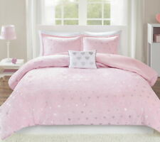 PINK METALLIC HEARTS PLUSH COMFORTER SET : Twin or Full / Queen GIRLS BEDDING