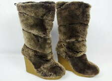 "Tory Burch Size 5 KiKi Shearling Wedge Boots Shoes 13.75"" Tall Brown Fur"
