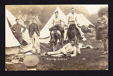 Postcard Military Soldiers by Tents 'Mounted Section' caption Horse joke? PC