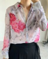 AUTH Ted Baker Floral print ruffle blouse top, 0-4