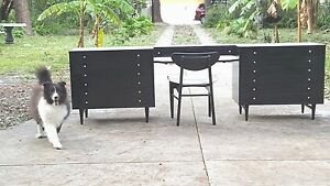 Ebony Black and White Dressers by American of Martinsville REFINISHED W/ Vanity!
