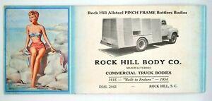 1950s Pinup Rock Hill, S.C Ink Blotter - Bathing Beauty - Trucks South Carolina