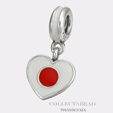 Authentic Pandora  Silver Dangle Enamel Japan Heart Flag Bead 791553ENMX