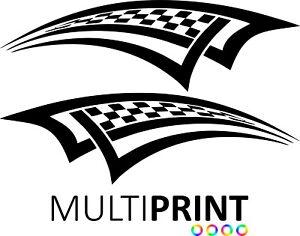 2x Large Chequered Vinyl Stickers Graphics Decals Stock Car Racing Dirt Van CHE6