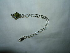 """Silver Necklace Extender Extenders 2"""" Emarald Green AB Crystal"""