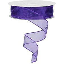 Sheer Organza Ribbon Wired 150ft Spool (Purple)