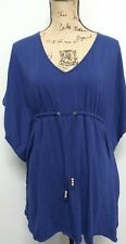 lands end navy blue top with bat wing sleeves v neck Ties at waist size xs 2-4