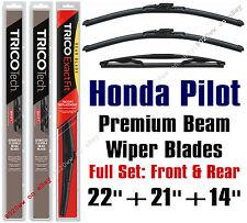 2009-2015 Honda Pilot Wiper Blades 3-Pack Full Set Front & Rear 19220/19210/14F