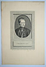 CHARLES XII Portrait GRAVURE Tardieu IMP. MANGEON XIX°
