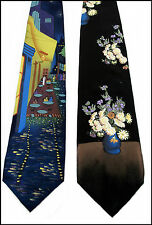 Hand Painted Men Silk Necktie Set of 2 Ties SIDEWALK CAFE & STILL LIFE Van Gogh
