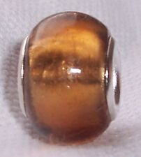 Orange Brown Foil Murano Glass Bead Gift for Silver European Charm Bracelets