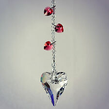Dangling Hearts & Big 37mm Wild Heart Sun Catcher Ornament m/w Swarovski Crystal