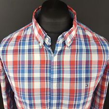 Tommy Hilfiger Mens Shirt 2XL Long Sleeve Red New York Fit SLIM Check Cotton