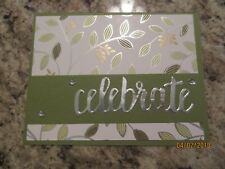 Stampin' Up Handmade Greeting Card Celebrate Anniversary in green