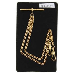 Stunning Double Albert Rolled Gold 9ct Pocket Watch Chain Light Birthday Gift