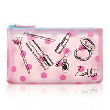 Zoella Beauty Tutti Fruity Pink Clear Coin Purse Zip Cosmetic Case Make Up Bag