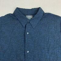 Crazy Horse Button Up Shirt Mens 2XL Blue Black Short Sleeve Straight Hem Casual