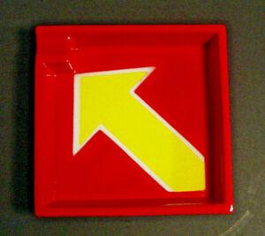 Raymor Art Pottery Ceramic Ashtray Red Yellow Arrow Italy Mancioli MCM Vtg Gloss