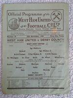 1945 - WEST HAM UTD v DERBY COUNTY PROGRAMME - FOOTBALL LEAGUE SOUTH - 45/46