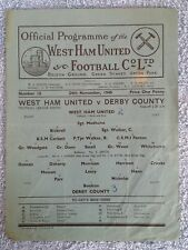 1945 - WEST HAM UTD v DERBY COUNTY PROGRAMME - FOOTBALL LEAGUE SOUTH - 45/46